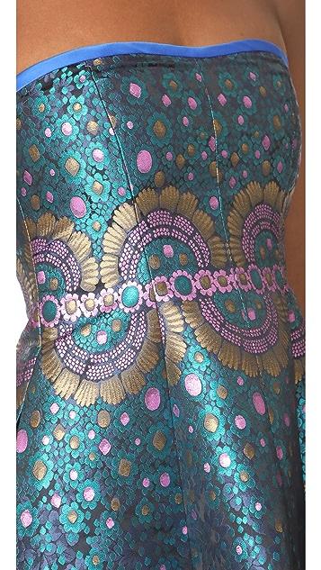 Cynthia Rowley Peacock Jacquard Strapless Dress
