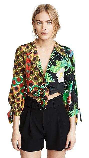 Cynthia Rowley Praia Cropped Printed Tie Sleeve Top
