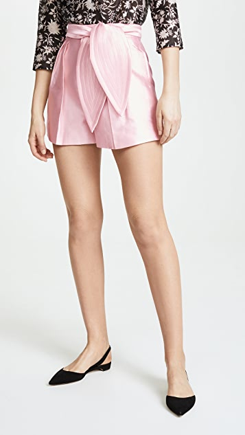 Cynthia Rowley Phoebe Pleated Silk Wool Shorts