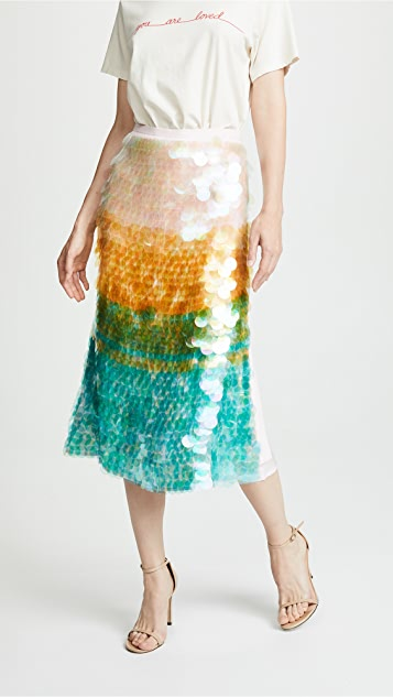 Cynthia Rowley Adelai Cascade Sequined Skirt