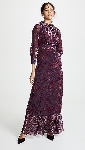 Cynthia Rowley Бархатное макси-платье с передней частью в стиле смокинга и рисунком в виде сердечек