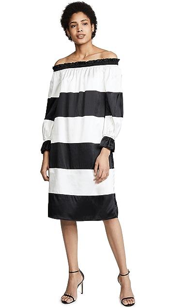 Cynthia Rowley Платье с открытыми плечами Shanley в полоску