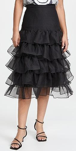 Cynthia Rowley - 透明硬纱荷叶边半身裙
