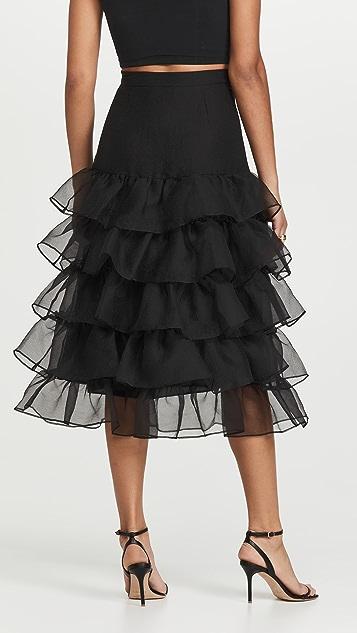 Cynthia Rowley Organza Ruffle Skirt