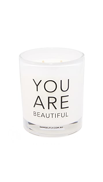 Damselfly You Are Beautiful Candle