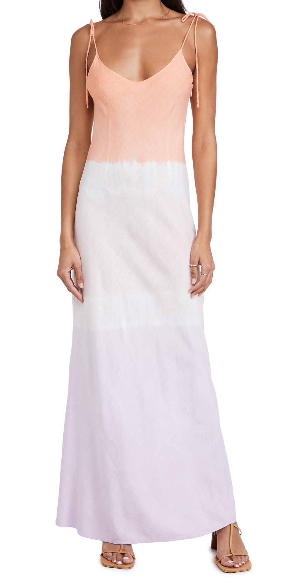 Ombre Linen Tie Strap Dress