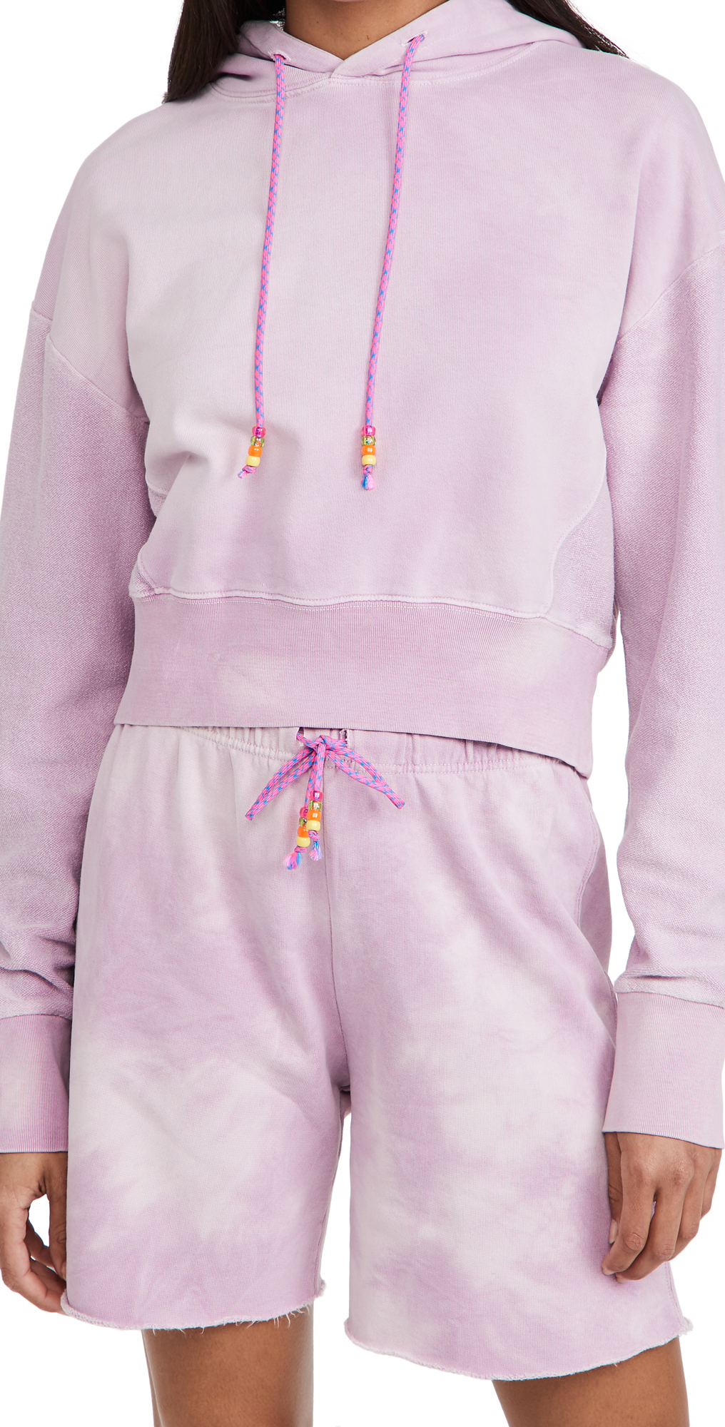Dannijo Cropped Hoodie With Beaded Drawstring In Pink