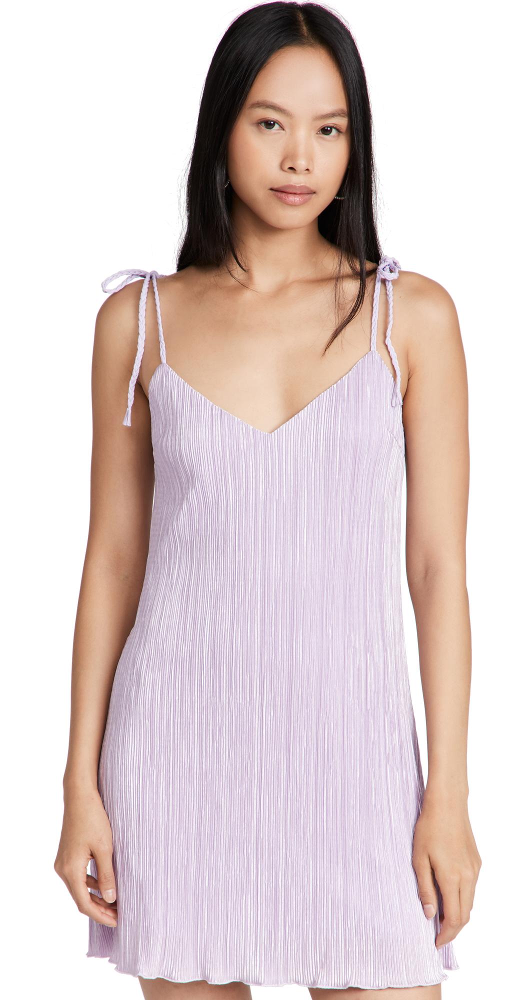 Mini Pleated Tie Strap Slip Dress