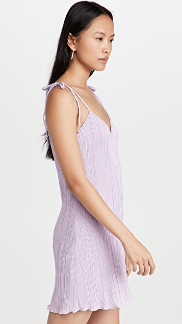 DANNIJO Mini Pleated Tie Strap Slip Dress