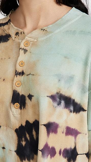 Daydreamer Tie Dye Thermal Henley