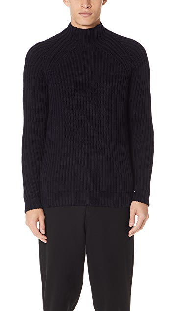 De Bonne Facture English Rib Mock Neck Sweater