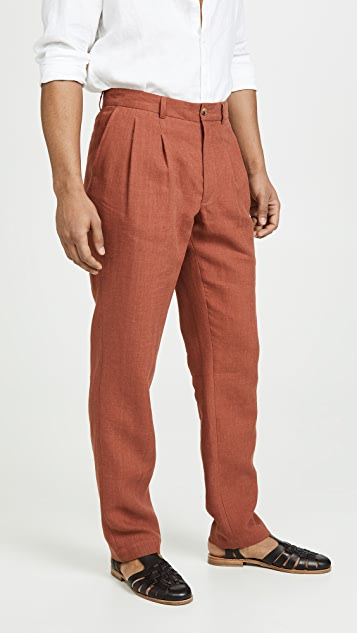 De Bonne Facture Two Pleat Wide Leg Trousers