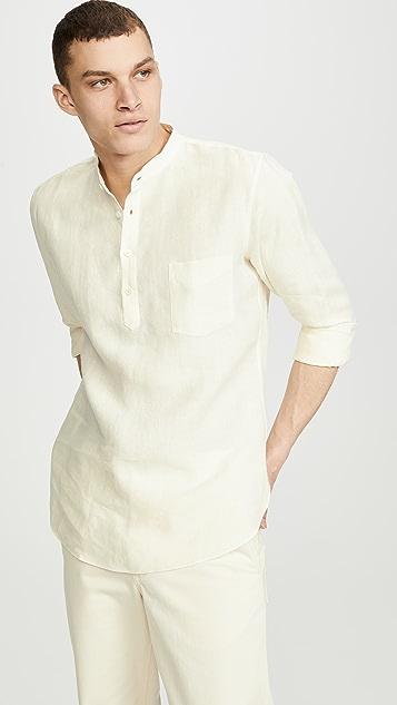 De Bonne Facture Grandad Collar Popover Shirt
