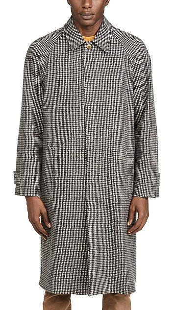 De Bonne Facture Italian Wool Houndstooth Long Mac Coat