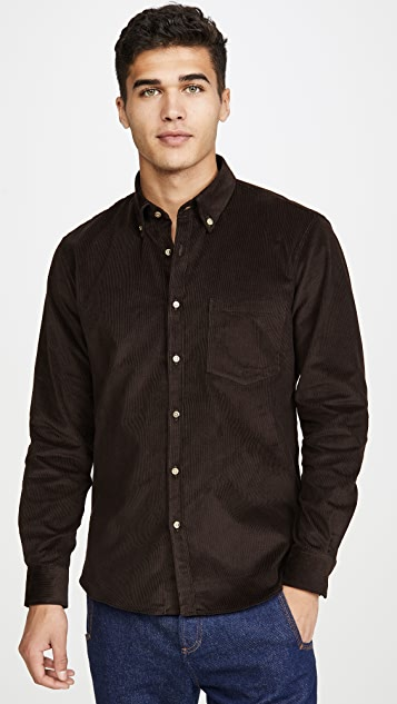 De Bonne Facture Long Sleeve English Corduroy Button Down Shirt