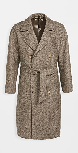 De Bonne Facture - Granddad Wool Herringbone Trench Coat