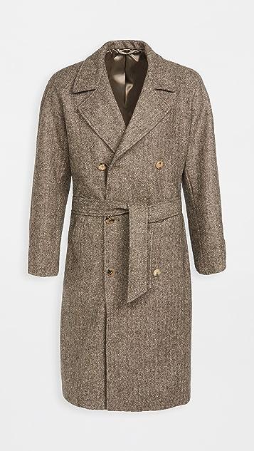 De Bonne Facture Granddad Wool Herringbone Trench Coat