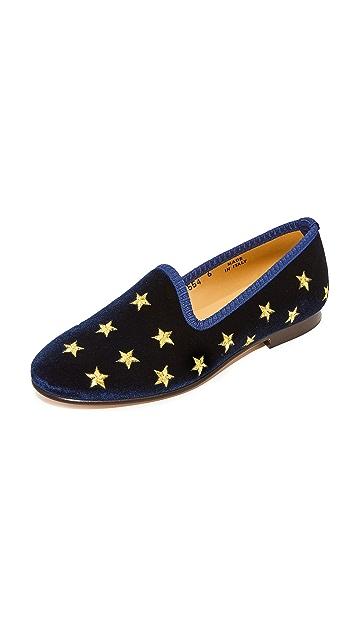 Del Toro Silver & Gold Stars Smoking Slippers