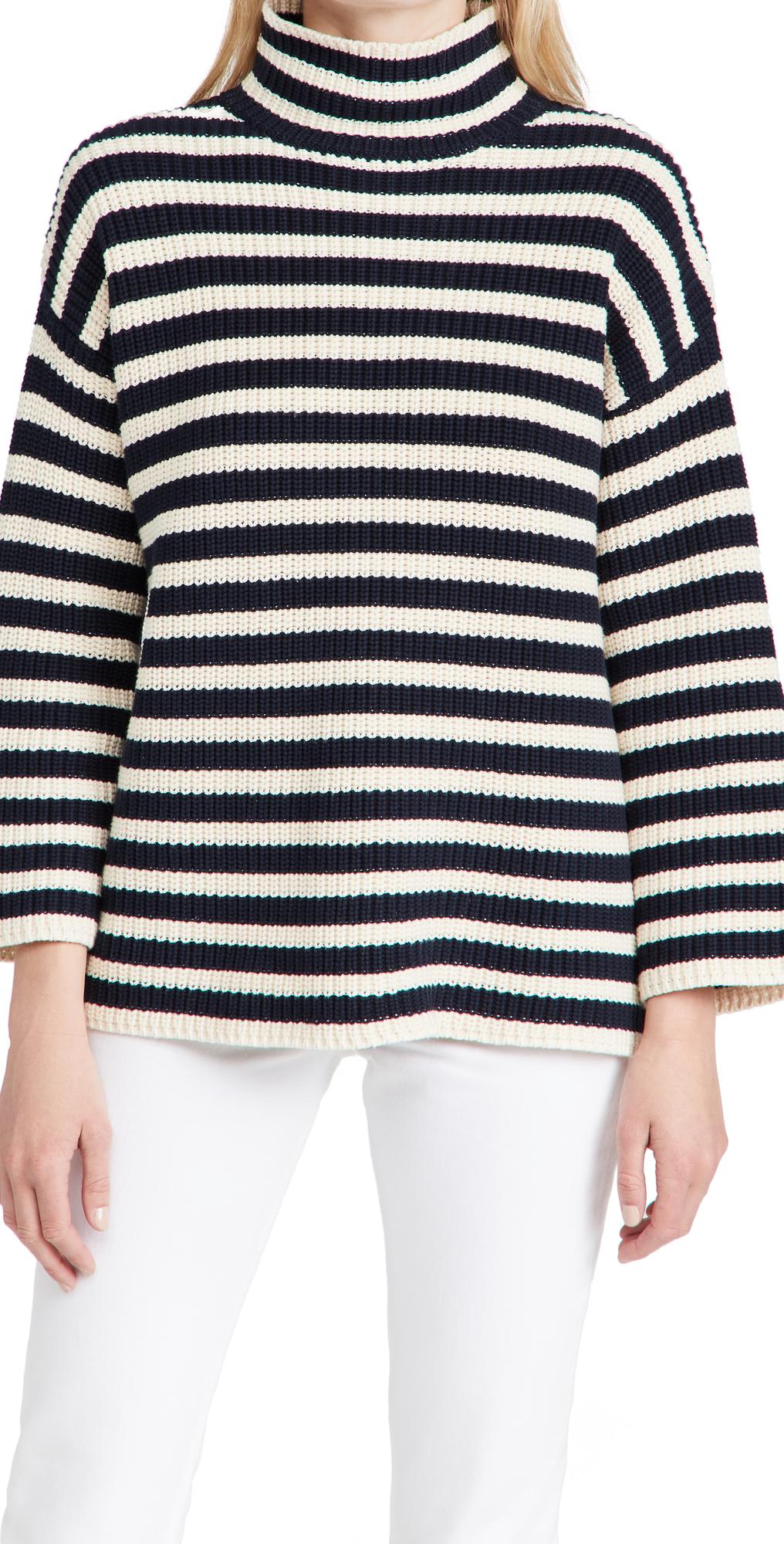 Olyvia Stripe Cotton Turtleneck Sweater