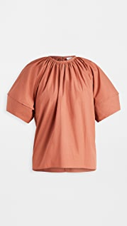 Deveaux Margot Poplin Puff Sleeve Top