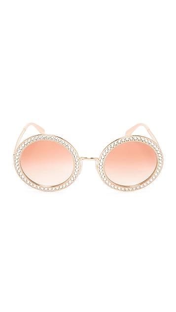 Dolce & Gabbana Round Crystal Sunglasses