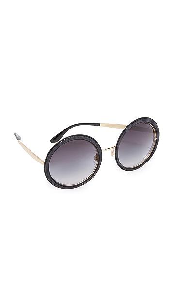 610218bfcc84 Dolce   Gabbana Grosgrain Round Sunglasses