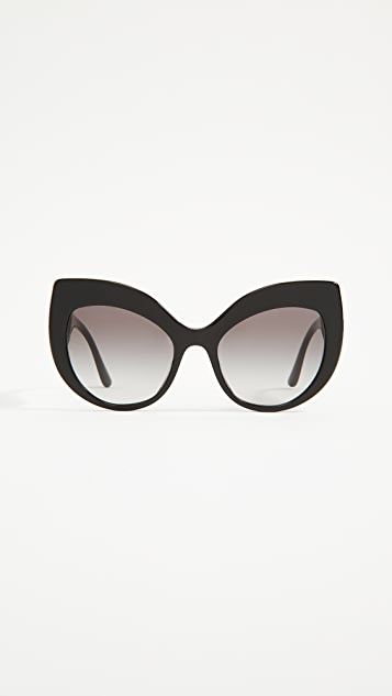 Dolce & Gabbana Ortensia Extreme Cat Sunglasses - Black/Grey