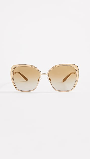 Dolce & Gabbana Square Fluted Sunglasses - Gold/Gold