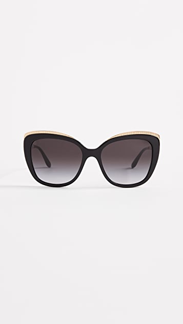 Dolce & Gabbana Top Fluted Sunglasses - Black/Grey