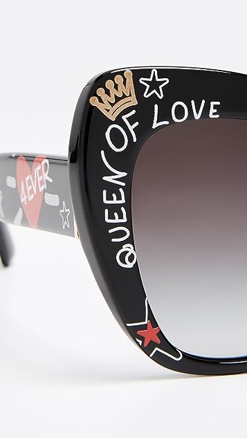 Dolce & Gabbana Эффектные солнцезащитные очки «кошачий глаз»