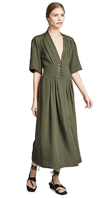 Divine Heritage Laced Up Waist Midi Dress