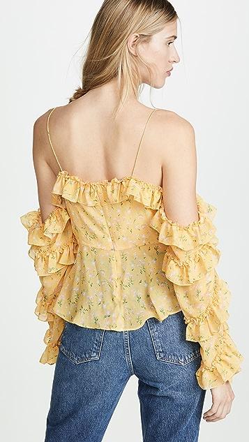 Divine Heritage Блуза на пуговицах с открытыми плечами и оборчатыми рукавами