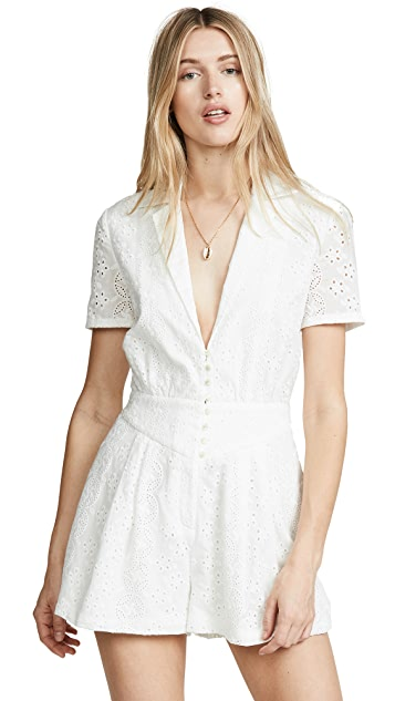 Divine Heritage Collared Button Up Pleated Romper
