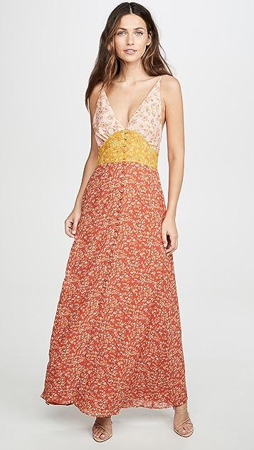 Divine Heritage Sleeveless Colorblock Maxi Dress