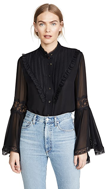 Divine Heritage Bell Sleeve Blouse With Lace Detail
