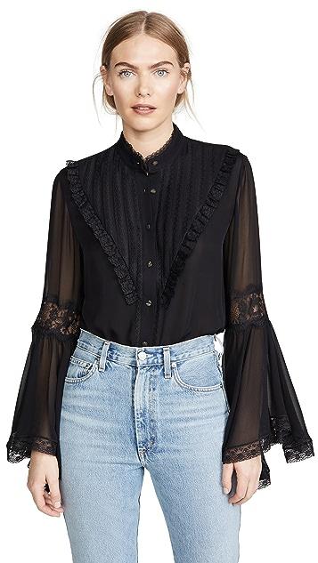Divine Heritage Блуза с расклешенными рукавами с кружевной отделкой