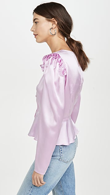 Divine Heritage 鸡心领泡泡袖女式衬衫