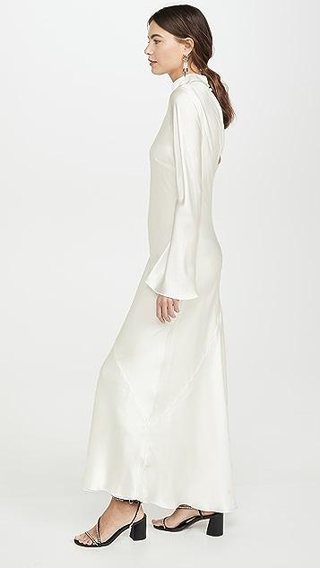 Divine Heritage Атласное вечернее платье с длинными рукавами и спинкой из крепа