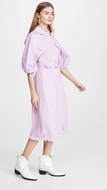 Divine Heritage Shirtdress With White Top Stitch