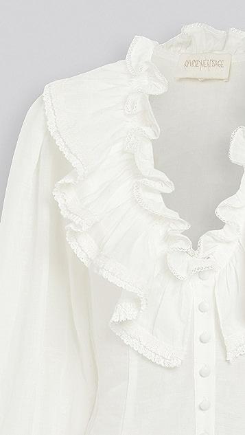 Divine Heritage 荷叶边领口系扣女式衬衫