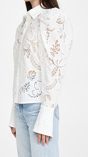 Divine Heritage Pleated Sleeve Button Up Shirt
