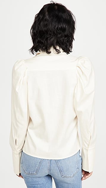 Divine Heritage Puff Sleeve Button Down Blouse