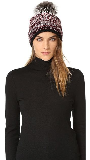 Diane von Furstenberg Multi Weave Pom Pom Hat