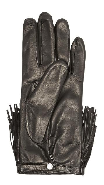 Diane von Furstenberg Fringe Leather Texting Gloves