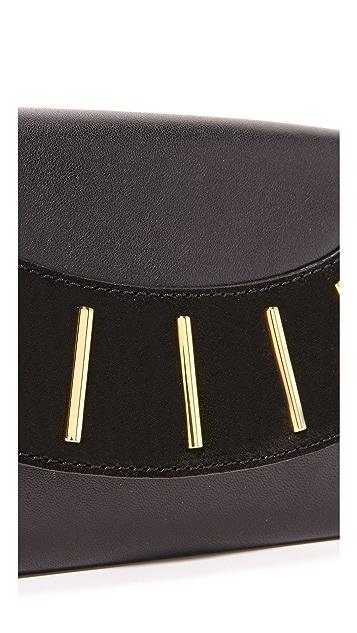 Diane von Furstenberg Leather & Suede Bar Stud Envelope Clutch