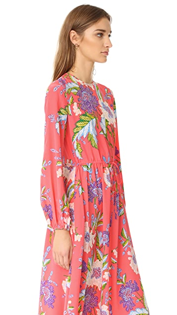 Diane von Furstenberg Long Sleeve Crew Neck Floor Length Dress