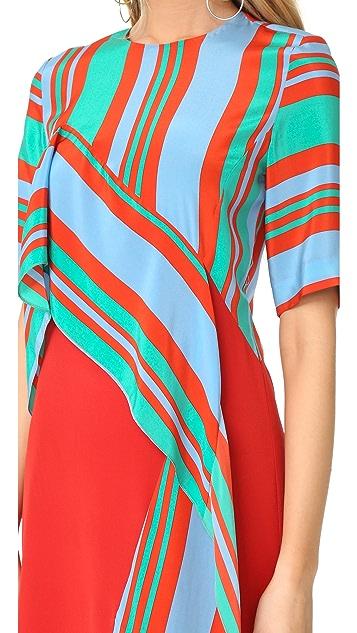 Diane von Furstenberg Short Sleeve Ruffle Front Dress