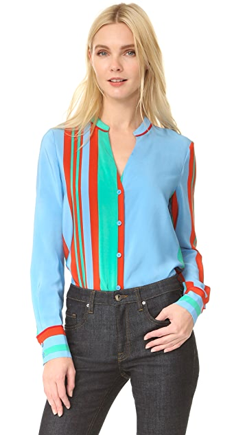Diane von Furstenberg Long Sleeve V Neck Shirt