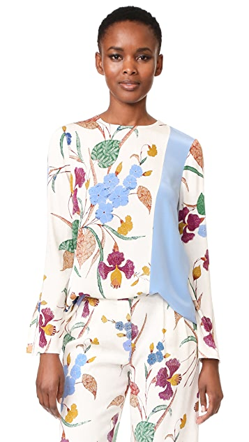 Diane von Furstenberg Long Sleeve Side Slit Blouse