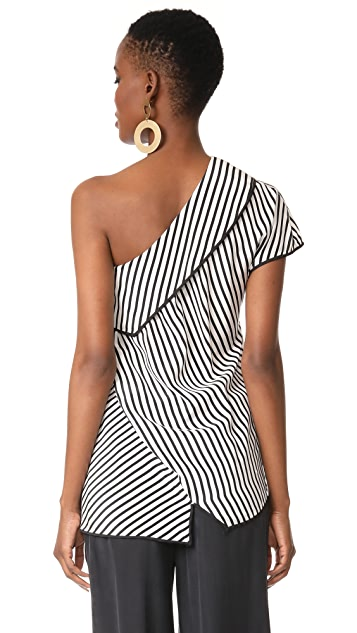 Diane von Furstenberg One Shoulder Side Slit Blouse